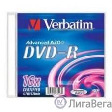 Verbatim  Диски DVD-R Verbatim 16-x, 4.7 Gb, (Slim Case) [43547] (отпускать поштучно)