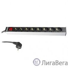 Hyperline SHT19-8SH-S-2.5EU Блок розеток для 19″ шкафов, горизонтальный, 8 универсальных розеток, 16A, выключатель, шнур 2.5м