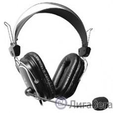 A4Tech HS-50,Черный(серебристые вставки) {Гарнитура  стерео, монитор типа, закрытые, рег громкости, 20-20000Гц 32 Ом 97дБ, микр подвижн,  кабель 2, 3.5 jack 3 pin}