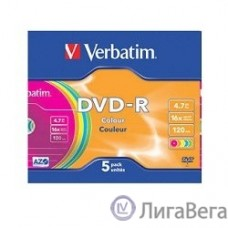 Verbatim  Диски DVD-R Verbatim 16-x, 4.7 Gb (Color, Slim Case, 5 шт) (43557)