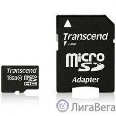 Micro SecureDigital 16Gb Transcend TS16GUSDHC10 {MicroSDHC Class 10, SD adapter}
