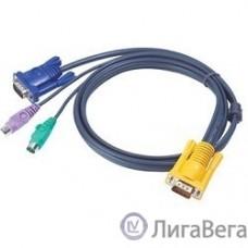 ATEN 2L-5203P Кабель KVM  PS/2(Kлав+мышь)(Male)+HDB15(Male)  SPHD15(Male) 3,0м., тонкий, черный.