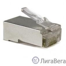 Hyperline PLUG-8P8C-U-C6-SH Разъем RJ-45(8P8C) под витую пару, категория 6 (50 µ″/ 50 микродюймов), экранированный, универсальный (для одножильного и многожильного кабеля) 1шт