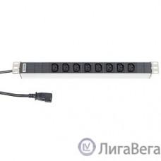 Hyperline SHT19-8IEC-2.5IEC Блок розеток для 19″ шкафов, горизонтальный, 8 IEC 320, 10 A, шнур 2.5м