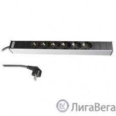 Hyperline SHT19-6SH-2.5EU Блок розеток для 19″ шкафов, горизонтальный, 6 универсальных розеток, 16A, шнур 2.5м