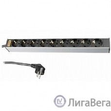 Hyperline SHT19-9SH-2.5EU Блок розеток для 19″ шкафов, горизонтальный, 9 универсальных розеток, 16A, шнур 2.5м