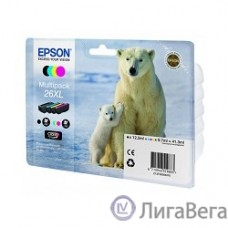 EPSON C13T26364010 Картридж 26XL для Epson Expression Premium XP-600/605/700, 4 цвета, 4clr Pig BK, CY, MA, YE (cons ink)