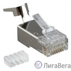 Hyperline PLUG-8P8C-UV-C6-TW-SH Разъем RJ-45(8P8C) ,  экранированный, со вставкой, категория 6 (50 µ″/ 50 микродюймов), универсал. (для однож. и многожил/ кабеля), для толстых жил 1.35-1.5 мм