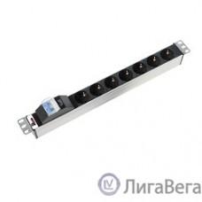 ЦМО Блок розеток Rem-16 с авт. 16А, 7 Shuko, алюм., 19″, колодка (R-16-7S-A-440-K)
