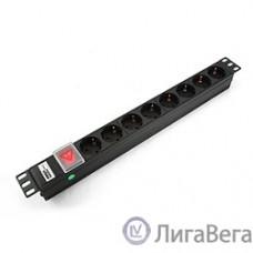 Gembird  [MAX19-EH8-0] Блок 8 евророзеток с защитой для 19″. C14. MAX-19. 16A. 1U.