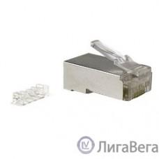 Hyperline PLUG-8P8C-UV-C6-SH Разъем RJ-45(8P8C) под витую пару, категория 6 (50 µ″/ 50 микродюймов), экранированный, универсальный (для одножильного и многожильного кабеля), со вставкой 1шт