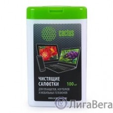 CACTUS Салфетки CS-T1005 Мини туба с чистящими салфетками для планшетов, ноутбуков и моб.тел.,100 шт