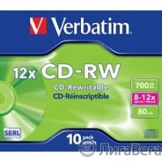 Verbatim  Диск CD-RW  700Mb 12x DataLife+ (10шт) (43148)
