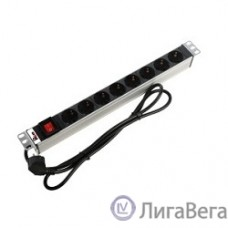 ЦМО Блок розеток Rem-16 с выкл., 8 Shuko, 16A, алюм., 19″, шнур 3 м. (R-16-8S-V-440-3)