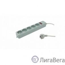 PC PET Сетевой удлинитель AAP01006-3-GR 3м (5 розеток, EURO, EURO/RUS), серый {619890}