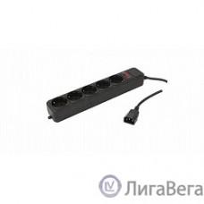 PC PET Сетевой удлинитель AP01006-E-BK 1.8м (5 розеток, входн.вилка IEC 320,выход.роз.EURO/RUS), черный {619892}