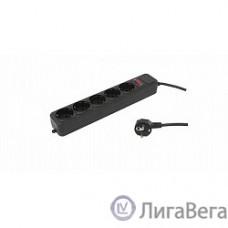 PC PET Сетевой удлинитель AP01006-1.8-BK 1.8м (5 розеток, EURO, EURO/RUS), черный {619893}