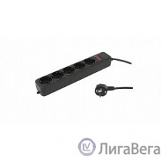 PC PET Сетевой удлинитель AP01006-3-BK 3м (5 розеток, EURO, EURO/RUS), черный {619894}