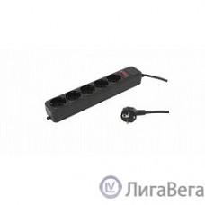 PC PET Сетевой удлинитель AP01006-5-BK 5м (5 розеток, EURO, EURO/RUS), черный {619895}