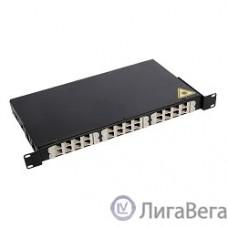 ЦМО Оптический бокс (кросс) 19″ выдвижной, 1U, до 24 портов, цвет черный  (БОН-19-1-24-В-9005)