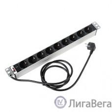 ЦМО Блок розеток Rem-16 с инд., 9 Shuko, 16A, алюм., 19″, шнур 3 м. (R-16-9S-I-440-3)