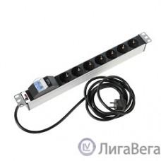 ЦМО Блок розеток Rem-16 с авт. 16А, 7 Shuko, алюм., 19″, шнур 3 м. (R-16-7S-A-440-3)
