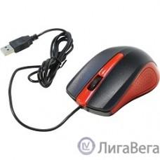 Oklick 225M черный/красный Мышь оптическая (1200dpi) USB (3but) [288237]