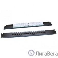 Hyperline PP3-19-16-8P8C-C5E-110D Патч-панель 19″, 1U, 16 портов RJ-45, категория 5e, Dual IDC, ROHS, цвет черный