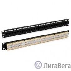 Hyperline PP3-19-24-8P8C-C6-110D Патч-панель 19″, 1U, 24 порта RJ-45, категория 6, Dual IDC, ROHS, цвет черный (задний кабельный организатор в комплекте)