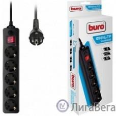 BURO Сетевой фильтр, 5 розеток, 10 метров, (500SH-10-B), черный (коробка) {992303}