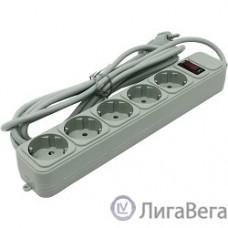 Exegate EX221186RUS Сетевой фильтр Exegate SP-5-3G (5 розеток, 3м, евровилка, серый)