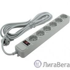 Exegate EX119394RUS Сетевой фильтр Exegate SP-6-5G (6 розеток, 5м, евровилка, серый)