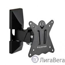 Kromax CASPER-102 black, 12 шт/уп. Кр. стал. наст. для TV 10″-32″, max 25 кг, 3 ст св., нак. +5°-15°, пов. 90°, от ст. 57-110 мм, max VESA 100x100 мм.