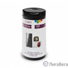 CBR CS 0030-100, Чистящие салфетки для пластиковых поверхностей, 100 шт., нарезка 110х170 мм, антистатик, срок годности 2 года, туба