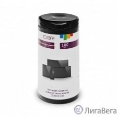 CBR CS 0033-100, Чистящие салфетки для всех типов экранов, 100 шт., нарезка 110х170 мм, не содержат спирта, срок годности 2 года, туба