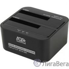AgeStar 3UBT6(6G)(BLACK)  USB 3.0 Докстанция 2x2.5″/3.5″ SATA HDD/SSD AgeStar 3UBT6-6G, пластик, черный, UASP, Clone
