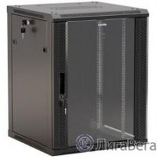 Hyperline TWB-FC-1566-GP-RAL9004 Шкаф настенный 19-дюймовый (19″), 15U, 775х600х600мм, стеклянная дверь с перфорацией по бокам, ручка с замком, с возможностью установки на ножки, цвет черный RAL 9004
