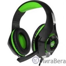 CROWN CMGH-101T Black&green (Подключение jack 3.5мм 4pin+ адаптер 2*jack spk+mic,Частотныи? диапазон: 20Гц-20,000 Гц ,Кабель 2.1м,Размер D 250мм, регулировка громкости, микрофон на ножке)
