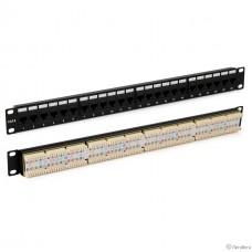 Hyperline PP3-19-48-8P8C-C6-110D Патч-панель 19″, 2U, 48 портов RJ-45, категория 6, Dual IDC, ROHS, цвет черный (задний кабельный организатор в комплекте)