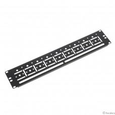 ЦМО Органайзер кабельный горизонтальный 19″ для крепления стяжек 2U, цвет черный (ГКО-У-2-9005)