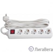 BURO Сетевой удлинитель 5 розеток, 5 метров, (BU-PS5.5/W), белый (пакет ПЭ) {828018}
