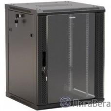 Hyperline TWB-1266-GP-RAL9004 Шкаф настенный 19-дюймовый (19″), 12U, 650x 600х 600мм, стеклянная дверь с перфорацией по бокам, ручка с замком, цвет черный (RAL 9004) (разобранный)