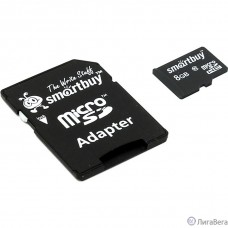 Micro SecureDigital 8Gb Smart buy SB8GBSDCL10-01 {Micro SDHC Class 10, SD adapter}