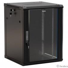 Hyperline TWB-0945-GP-RAL9004 Шкаф настенный 19-дюймовый (19″), 9U, 500x 600х 450мм, стеклянная дверь с перфорацией по бокам, ручка с замком, цвет черный (RAL 9004) (разобранный)