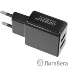 GINZZU GA-3314UB, СЗУ 5В/3.1A/2USB + Дата-кабель Type C, 1,0м, черный