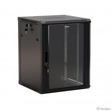 Hyperline TWB-0666-GP-RAL9004 Шкаф настенный 19-дюймовый (19″), 6U, 367x 600х 600мм, стеклянная дверь с перфорацией по бокам, ручка с замком, цвет черный (RAL 9004) (разобранный)