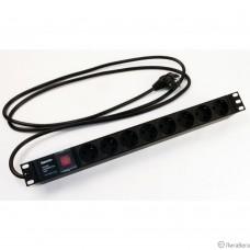 Hyperline SHE19-8SH-S-2.5EU Блок розеток для 19″ шкафов, горизонтальный, с выключателем с подсветкой, 8 розеток Schuko (16A), 250В, кабель питания 3х1.5мм2, длина 2.5 м, с вилкой Schuko, 482.6x44.4x44