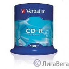 Verbatim  Диски CD-R  100 шт. 48/52-x 700Mb, Cake Box ( 43411)