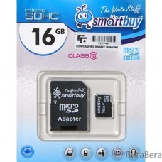 Micro SecureDigital 16Gb Smart buy SB16GBSDCL10-01 {Micro SDHC Class 10, SD adapter}