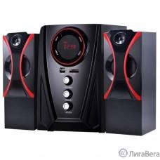 Ginzzu GM-407 2.1 с Bluetooth, выходная мощность 20Вт + 2х10Вт, аудиоплеер USB-flash, SD-card, FM-радио, пульт ДУ - 21 кнопка, стерео вход (2RCA), эквалайзер (обыч
